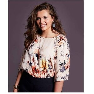 Charter Club Tops - Charter Club 1X Pink Floral Bubble Cuff Top 2-O4-5